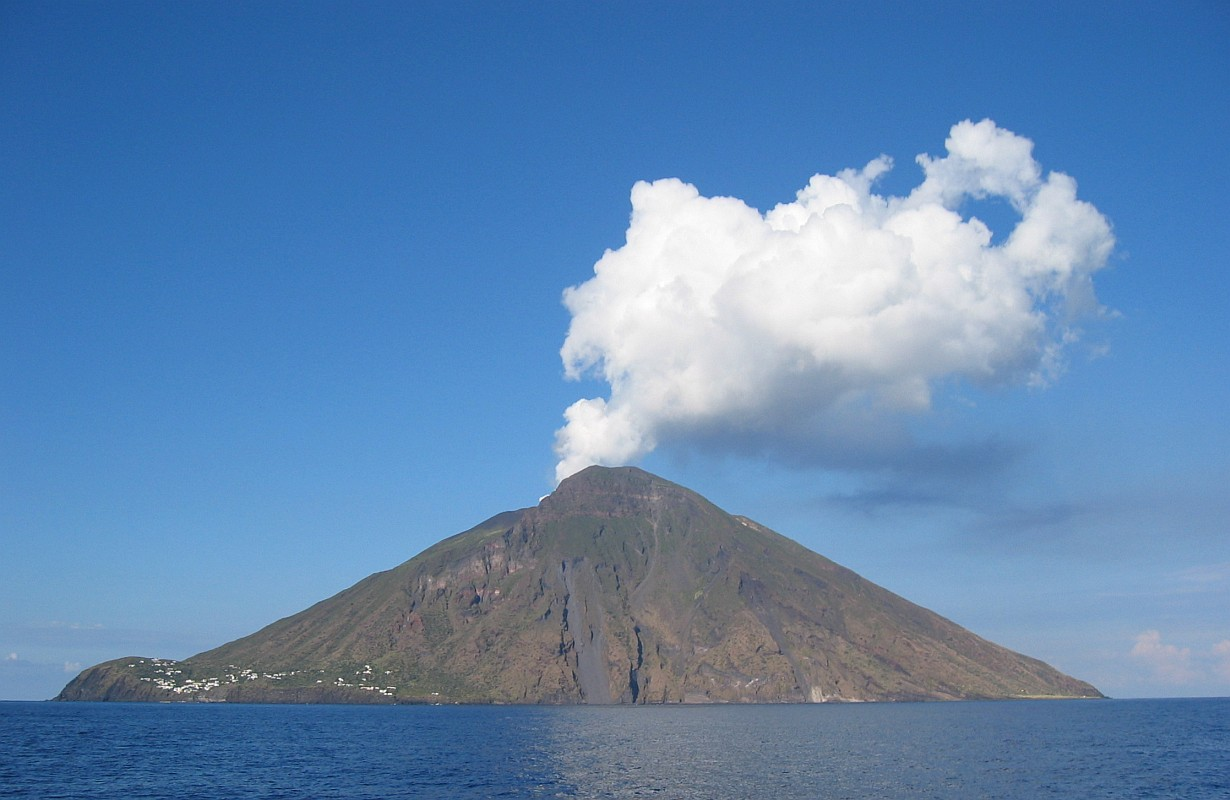 The Stromboli stratovolcano off the coast of Sicily. Image credit: Steven W. Dengler